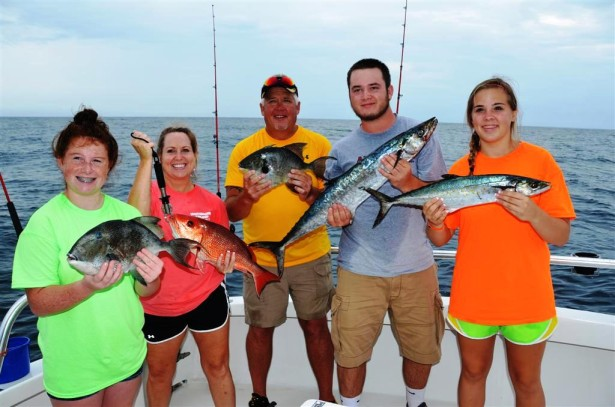 taking the family fishing is fun while in orange beach