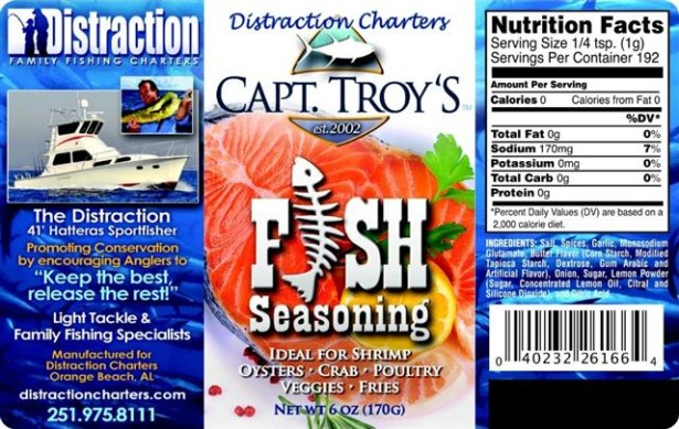 captain troy's distraction charters fish seasoning