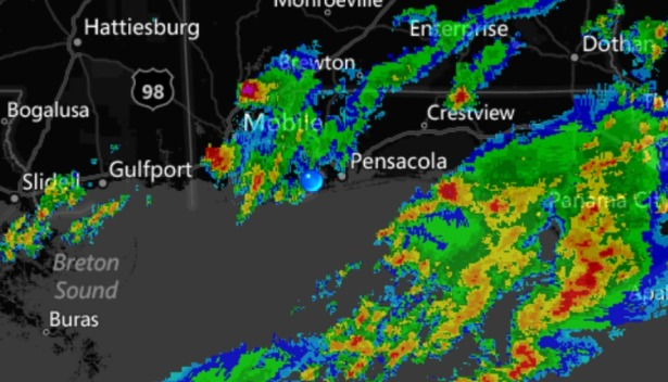 Having live color radar on board gives the captain the ability see approaching rain.