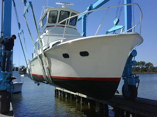 Our boat is pulled out of the water each year to perform routine hull and propeller inspections.