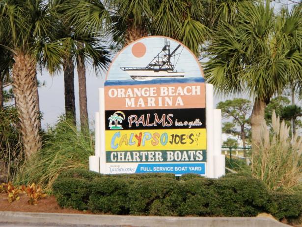 Entrance to Orange Beach Marina Sign